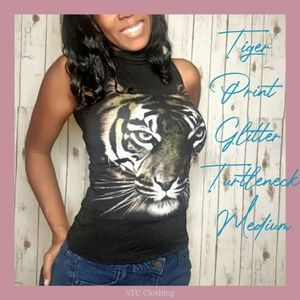 A3 The Classic Tiger Glitter Print Turtleneck Med